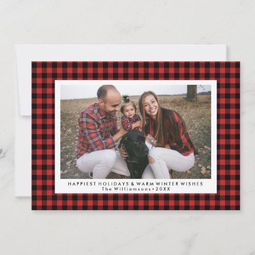 Happy Holidays Photo Fun Buffalo Check Plaid Holiday Card