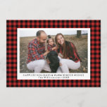 "Happy Holidays Photo Fun Buffalo Check Plaid Holiday Card<br><div class=""desc"">Send holiday greetings with this fun card featuring your photo framed by a red and black buffalo plaid border. Add your custom text and names. The backside features a festive black and white polka dot pattern ( color can be changed). Modern and chic yet simple and fun - a card...</div>"