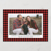 Happy Holidays Photo Fun Buffalo Check Plaid Holiday Card