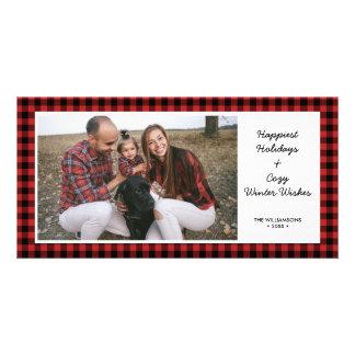 Happy Holidays Photo Rustic Buffalo Check Plaid Card