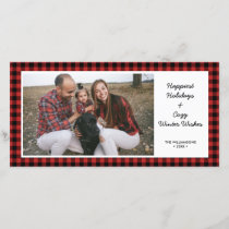 Happy Holidays Photo Rustic Buffalo Check Plaid Holiday Card