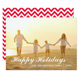 Happy Holidays Photo w/Red Chevron - 6x8 Card