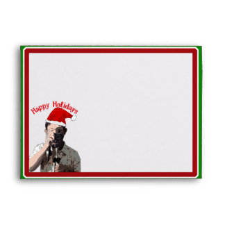 Happy Holidays Photographer With Santa Hat Envelopes