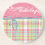 happy holidays pink and plaid beverage coasters