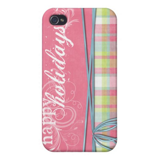 happy holidays pink and plaid cover for iPhone 4