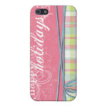 happy holidays pink and plaid iPhone 5 covers
