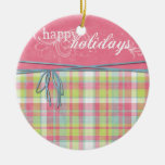 happy holidays pink and plaid Double-Sided ceramic round christmas ornament