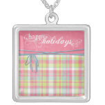happy holidays pink and plaid pendants