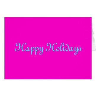 """Happy Holidays"" Pink Retro-Style Merry Xmas Card"
