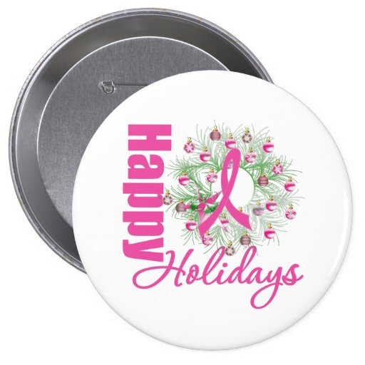Happy Holidays Pink Ribbon Wreath Buttons