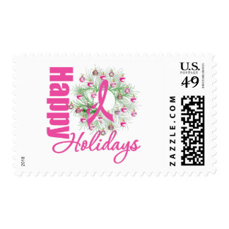 Happy Holidays Pink Ribbon Wreath Stamp