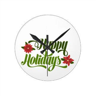 Happy Holidays Poinsettia Wallclock
