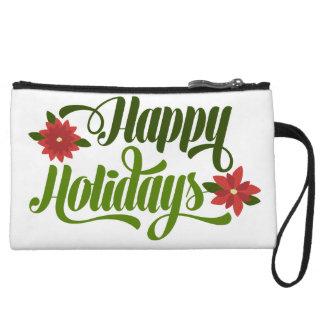 Happy Holidays Poinsettia Cluitch Bag Wristlets