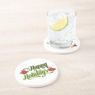 Happy Holidays Poinsettia Drink Coaster