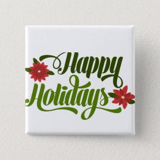 Happy Holidays Poinsettia Pinback Button