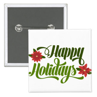 Happy Holidays Poinsettia Pinback Button