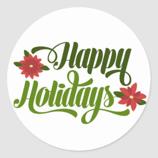 Happy Holidays Poinsettia Round Sticker