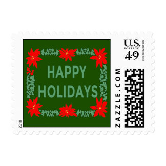 Happy Holidays Poinsettia Stamps