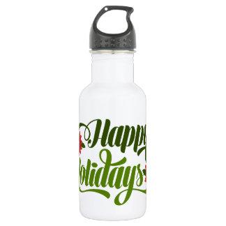 Happy Holidays Poinsettia Water Bottle