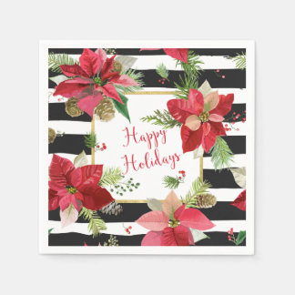 Happy Holidays Poinsettias on Black Stripe Napkins