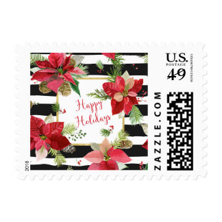 Happy Holidays Poinsettias on Black Stripe Postage