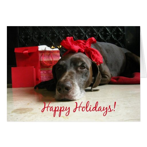 happy holidays pointer and gifts at fireplace card