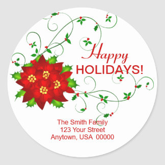 Happy Holidays Pointsettia Address Labels Classic Round Sticker