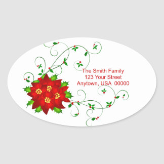 Happy Holidays Pointsettia Oval Address Labels Oval Sticker