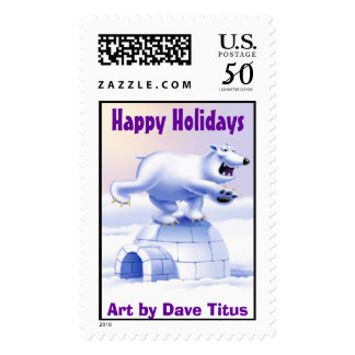 Happy Holidays Polar Bear - Art by Dave Titus Postage