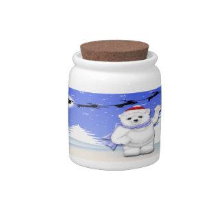 Happy Holidays Polar Bear Candy Jar