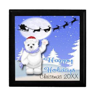 Happy Holidays Polar Bear Gift Box/Trinket Box