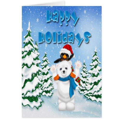 Happy holidays polar bear penguin greeting card zazzle for Penguin christmas cards homemade