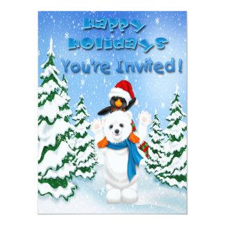 Happy Holidays Polar Bear Penguin Invitations
