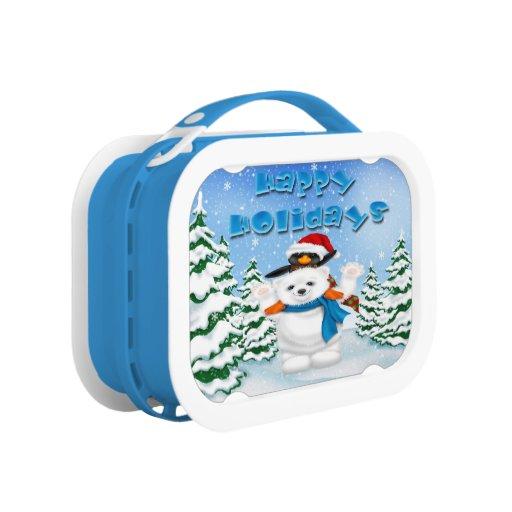 Happy Holidays Polar Bear Penguin Lunch box