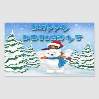 Happy Holidays Polar Bear Penguin Rectangle Sticke Rectangular Sticker