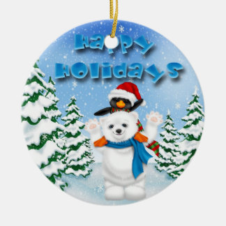 Happy Holidays Polar Bear Penguin Round Ornament