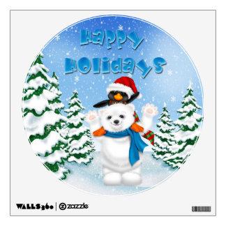 Happy Holidays Polar Bear Penguin Round Wall Decal