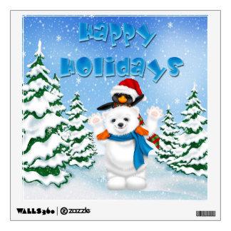 Happy Holidays Polar Bear Penguin Square Wall Deca Wall Sticker