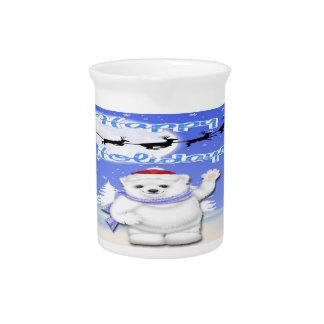 Happy Holidays Polar Bear Pitcher