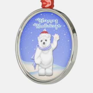 Happy Holidays Polar Bear Premium Round Ornament