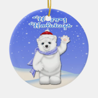 Happy Holidays Polar Bear Round Ornament