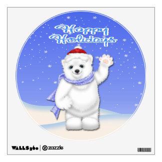 Happy Holidays Polar Bear Round Wall Decal