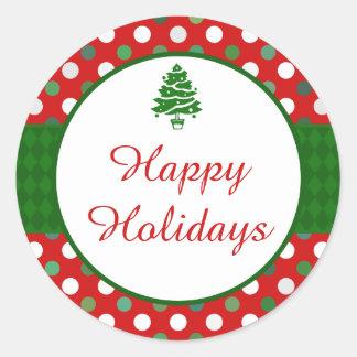 Happy Holidays Polka Dot Christmas Tree Stickers