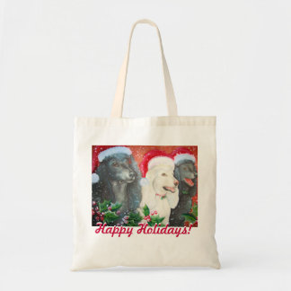 Happy Holidays Poodles Canvas Tote Budget Tote Bag
