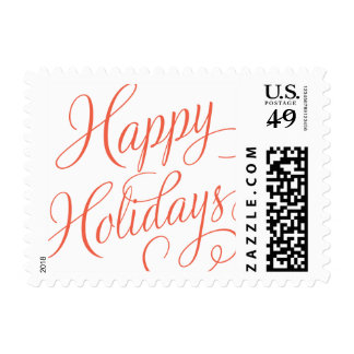 Happy Holidays Postage Stamp - elegant script