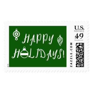 Happy Holidays Postage Stamps with Ornaments