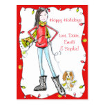 Happy Holidays postcard with adorable China Girl~
