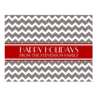 Happy Holidays Postcards Red Grey Chevron