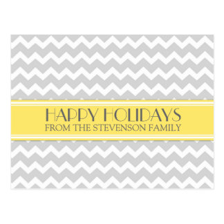 Happy Holidays Postcards Yellow Grey Chevron