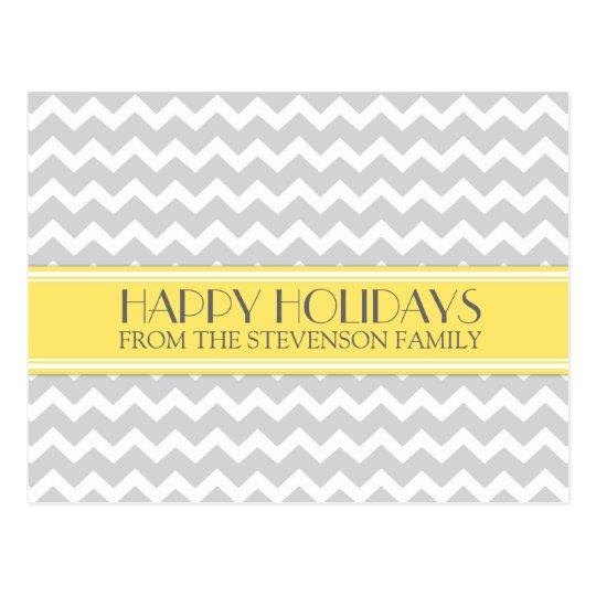 Happy Holidays Postcards Yellow Grey Chevron